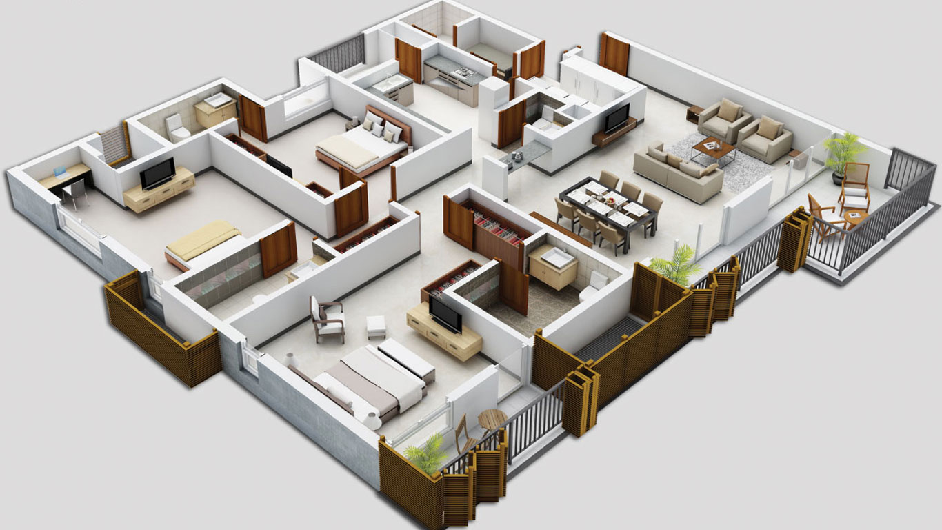 3d floor plan apartment a