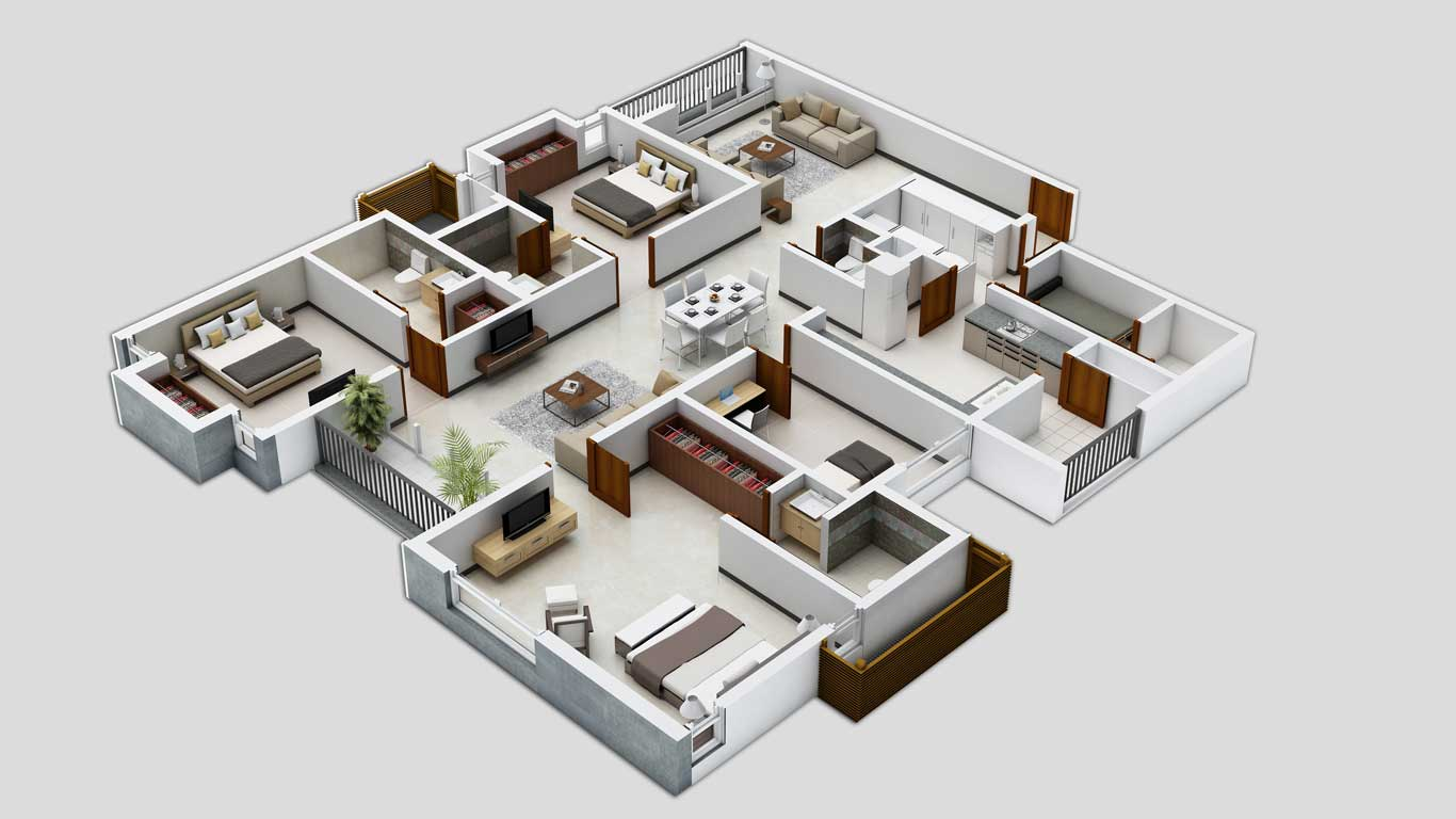 3D Apartment Floor Plan Design on restaurant floor plan furniture symbols